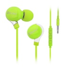 Mosidun 3.5mm Plug Super Sereo Bass Noise Isolating In-Ear Earphone w/ Mic - Light Green