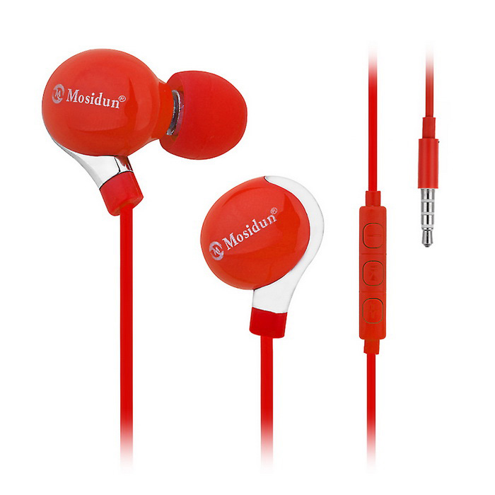 Mosidun Bass Noise Isolating In-Ear Earphone w/ Mic - Red