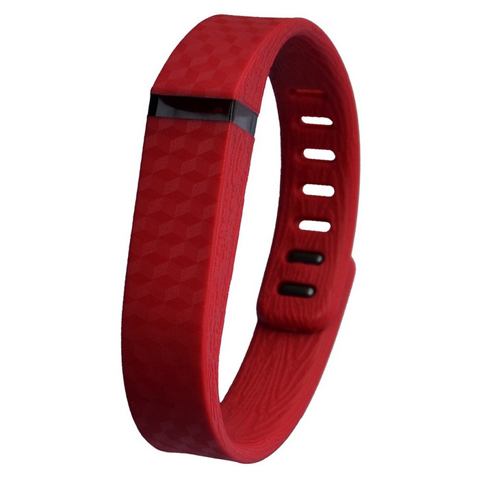 3D Texture TPE + TPU Wristband for Fitbit Flex Smart Bracelet - Red