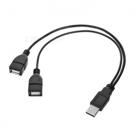 Cwxuan USB 2.0 Male to 2-Female Data & Charging Cable - Black (32.5cm)