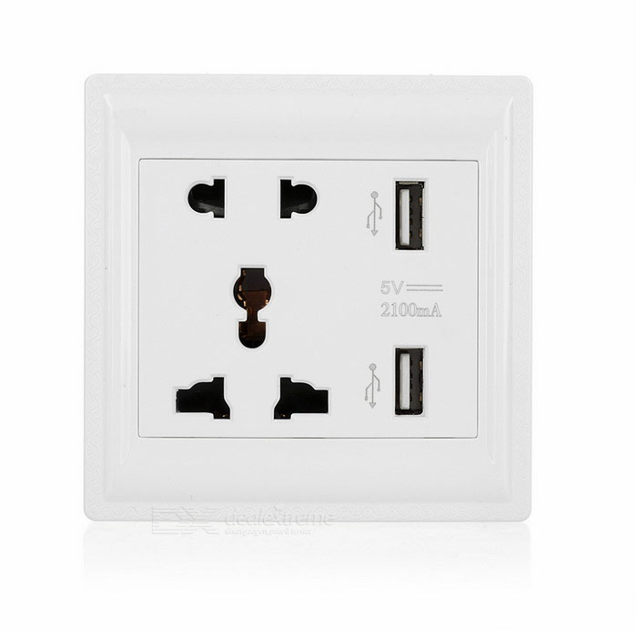 2-Port USB 10A US Plug &amp; UK Plug Wall Mounted Socket - WhitePlugs &amp; Sockets<br>Form  ColorWhiteQuantity1 pieceMaterialPC + bronzeFireproof MaterialYesRate Voltage110~240VRated Current10 ARated PowerN/A WCompatible PlugUS Plug,UK PlugGroundingNoWith Switch ControlYesSurge Protection FunctionNoLightning Protection FunctionNoWith FuseNoPower AdapterUS Plug,EU Plug,UK Plug,AU PlugOther FeaturesUSB output: 5V/2100mA; Plug times: 5000times.Packing List1 x USB socket2 x Screws1 x Chinese / English user manual<br>