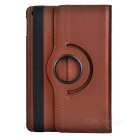 Litchi Pattern Protective PU Case w/ Stand for IPAD MINI 4 - Brown