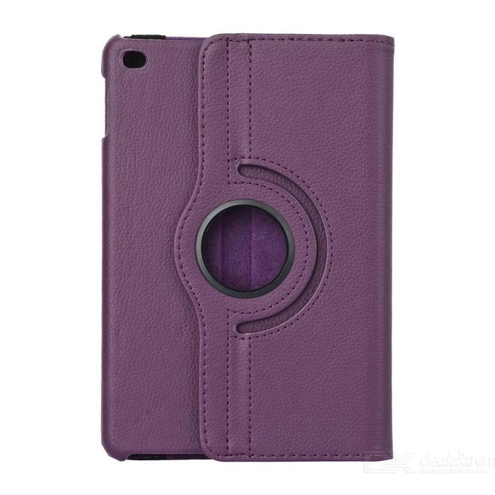 Litchi Pattern Protective PU Case w/ Stand for IPAD MINI 4 - Purple