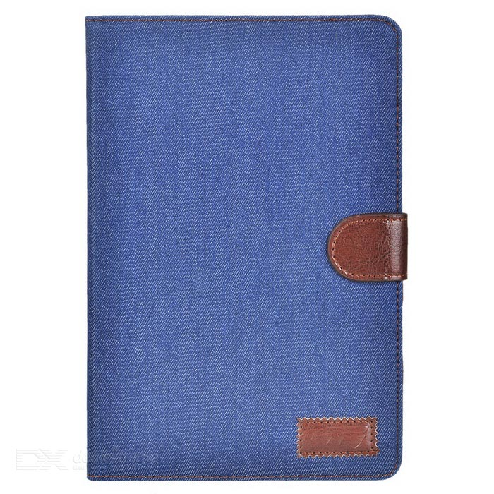 Protective Denim + PU Case w/ Stand for IPAD MINI 4 - Blue + BrownIpad Cases<br>Form ColorBlue + BrownQuantity1 DX.PCM.Model.AttributeModel.UnitMaterialPU LeatherShade Of ColorBlueCompatible ModelsOthers,IPAD MINI 4DesignSolid ColorTypeLeather CasesAuto Wake-up / SleepNoPacking List1 x Case<br>