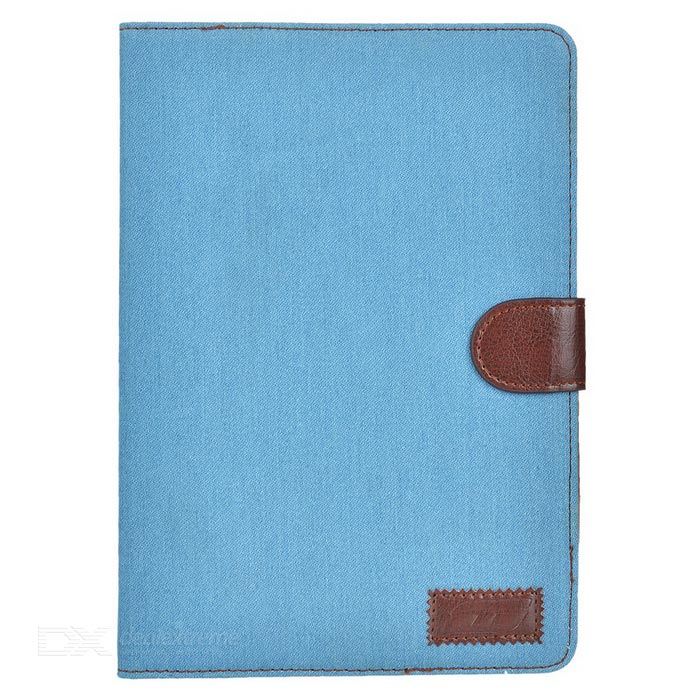 Protective Denim + PU Case w/ Stand for IPAD MINI 4 - Sky Blue + Brown