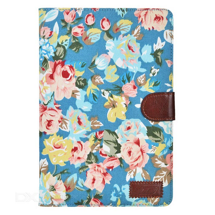 Flower Pattern Protective PU Case for IPAD MINI 4 - Blue + Multicolor
