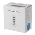 20W 5V 4A US Plug USB 2.0 5-Port Power Charger w/ Stand - White