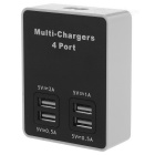 Multifunctional Quick Charge 4-Port Multi-chargers - Black + White