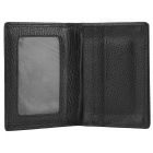 JINBAOLAI Lychee Pattern 2-Fold Leather Wallet w/ Card Slots - Black
