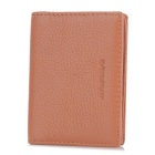 Buy Lychee Pattern 2-Fold Leather Wallet Card Slots - Brown