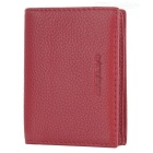 Lychee Pattern 2-Fold Leather Wallet w/ Card Slots - Red