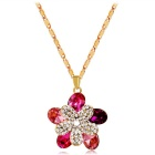 Xinguang Double Plum Blossom Design Crystal Pendant Necklace - Golden