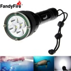 FandyFire 5200lm 5-L2 LED White Light Diving Flashlight - Black (7.2-8.4V)