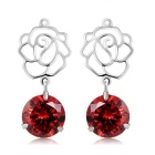 Xinguang Hollow Red Crystal Pendant Necklace - Silver (Pair)