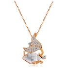 Xinguang Double Winding Crystal Necklace for Women - Rosy Gold