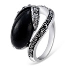 Xinguang Retro Black Bean Inlaid Crystal Finger Ring for Women - Silver (US Size 8)