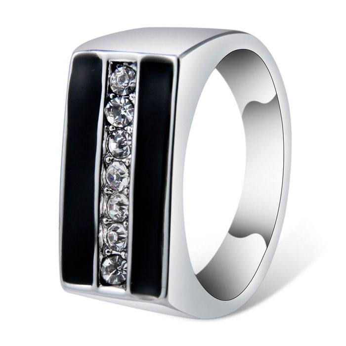 Xinguang Retro Black Double Rod Style Crystal Inlaid Ring for Women - Silver (US Size 8)