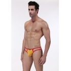 Men's Sexy Breathable Thong G-String Briefs Underwear - Yellow + Red (L)
