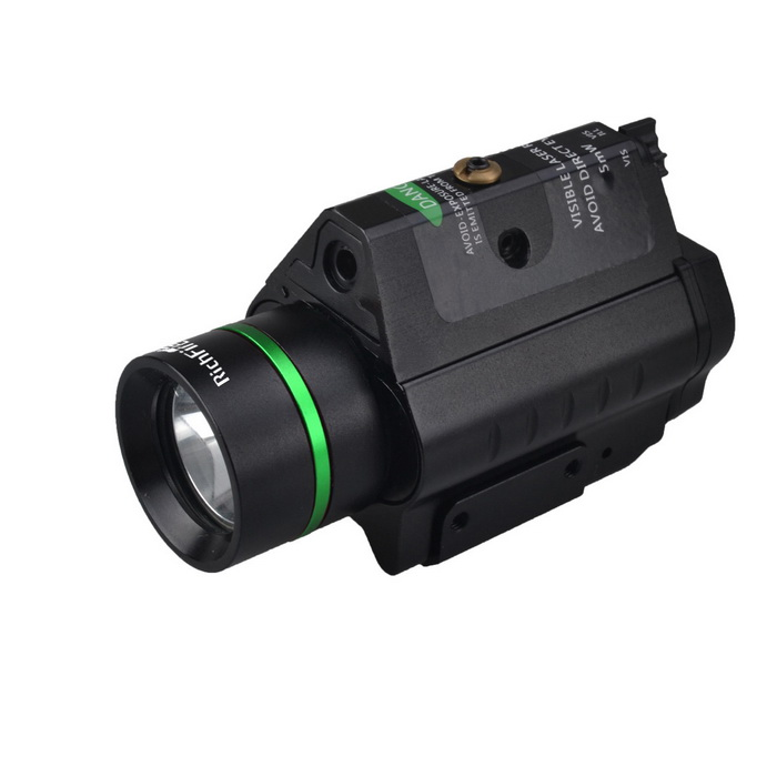 RichFire SF-P14 5mW Green Laser Stroboscopic CREE XPG-2 S4 LED Flashlight - BlackCR123A/16340 Flashlights<br>Form  ColorBlackBrandOthers,RichFireModelSF-P14Quantity1 pieceMaterialAluminum alloyOther FeaturesTactical,Others,Convenient installation and disassemblyEmitter BrandCreeLED TypeOthers,XPG-2Emitter BINothers,S4Color BINCold WhiteNumber of Emitters1Working Voltage   6 VPower Supply2 x CR123 batteriesCurrent300 mAOutput(lumens)1-200Theoretical Lumens100 lumensActual Lumens100 lumensRuntime(hours)3.1-4Runtime3.5 hourNumber of Modes3Mode ArrangementOthers,When button point to ILL, press twisty switch,CREE Q5 on; When button point to VIS ,ILL,press twisty switch ,CREE Q5 and Green laser on; When button point to VIS,press twisty switch, only green laser on;Mode MemoryNoSwitch TypeTwistySwitch LocationTail TwistyLensGlassReflectorOthers,Aluminum SmoothBeam Range500 mStrap/ClipNoCertificationCE, RoHSPacking List1 x Laser Flashlight2 x CR123 Batteries2 x Hexagon wrenches (big&amp;small of each one)1 x English user manual<br>