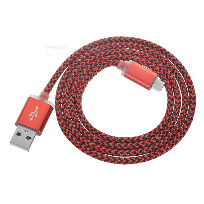 Twisted USB 2.0 to Micro USB Data Sync / Charging Cable - Red + Black