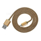 USB 2.0 to Micro USB Braided Data Sync / Charging Cable for Android - Champagne Gold + Black