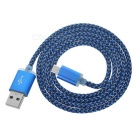 USB 2.0 to Micro USB Braided Data Sync / Charging Cable for Android - Blue + Black