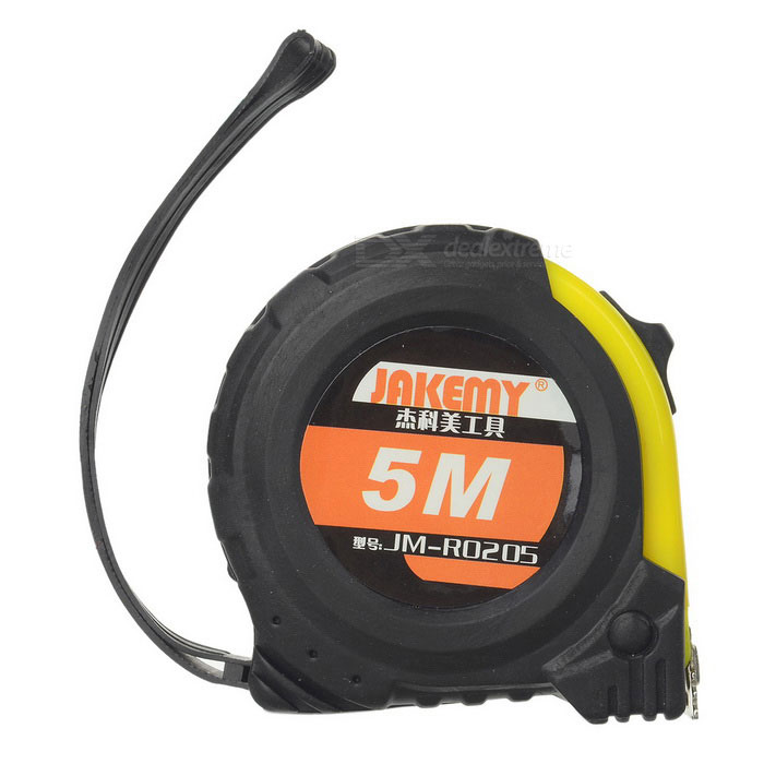 JAKEMY JM-RO205 Shock-resistant Magnetic 45# Steel Tape Measure - Black + Yellow (5m)(SKU 410055)