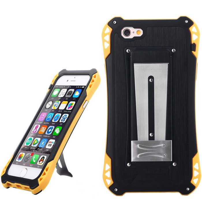 caso esterno impermeabile anti-shock per IPHONE 6 / 6S - nero + giallo