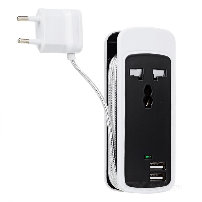 Portable 3-in-1 Travel Power Socket w/ Dual-USB / 1 x AC Outlet - Black + White (EU Plug)