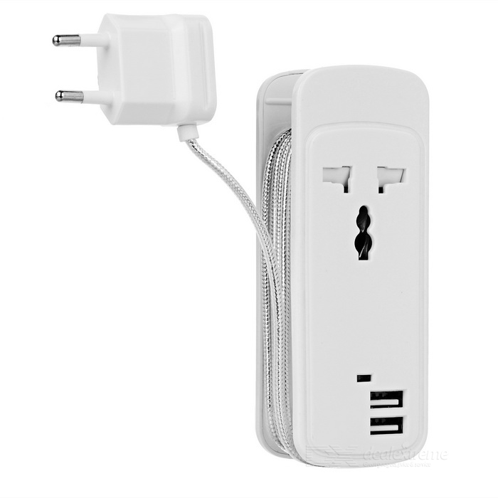 Portable 3-in-1 Travel Power Socket w/ Dual-USB / 1 x AC Outlet - White (EU Plug)