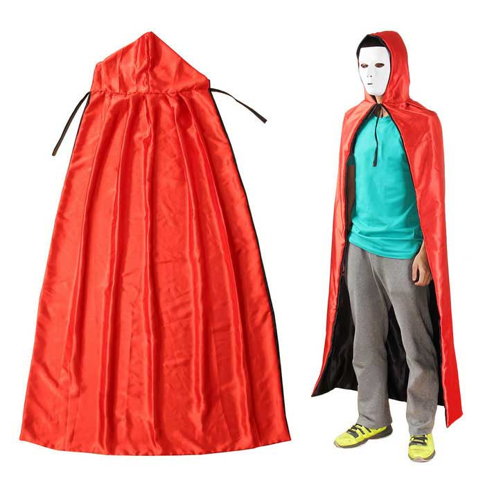 Adult Cosplay Halloween Masquerade Costumes Death Cloak - Black + Red