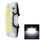 USB Rechargeable 1-LED 6-Mode White Bicycle Bike Light Lamp - White + Black + Multicolored