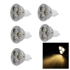 GU10 3W LED Bulb Spotlight Warm White Light 3200K 100lm - White + Silver (AC 220V / 5PCS)