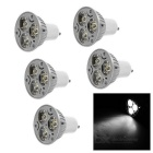 GU10 3W LED Bulb Spotlight Cold White Light - White + Silver (5PCS)