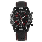 Men's Fashion Silicone Rubber Band Sport Analog Quartz Wrist Watch - Black + Red (1 x LR626)