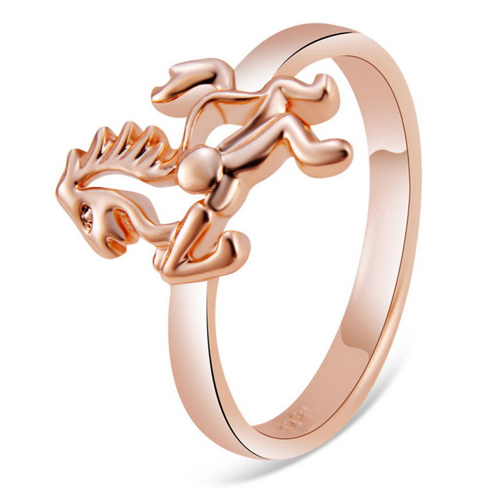 Xinguang cheval design alliage bague pour femme - rose or (us 8)