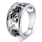 Xinguang Three Baby Elephants Design Crystal Ring for Women - Silver (US Size: 8)