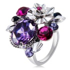 Xinguang Elegant Flowers Design Purple Crystal Ring for Women - Silver (US Size: 8)
