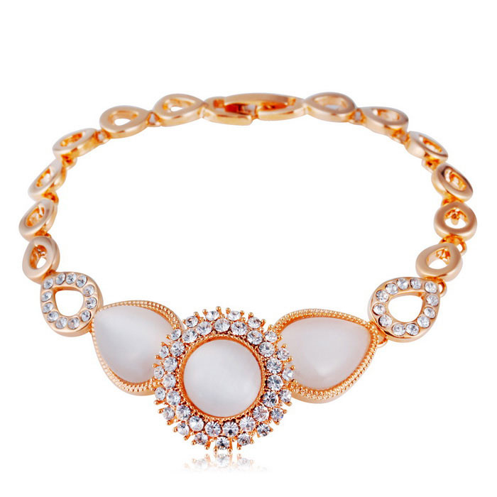 Xinguang Pear Shaped Connection Crystal Bracelet - Golden