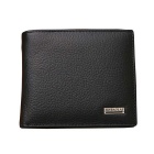 JIN BAO LAI Stylish Folded Leather Wallet Purse w/ Coin Pocket for Men - Black