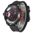WEIDE UV1501 Men's 3ATM Waterproof Dual Time Zone Large Dial Sports Quartz Watch w/ Silicone Strap
