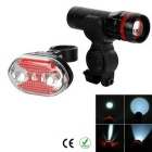 5-LED 7-Mode Red Tail Light + 1-LED 3-Mode White Zooming Flashlight Headlight Set for Bike