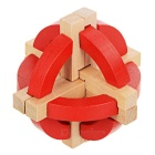 Wooden Tellurion Style Interlock Educational Toy - Brown + Red
