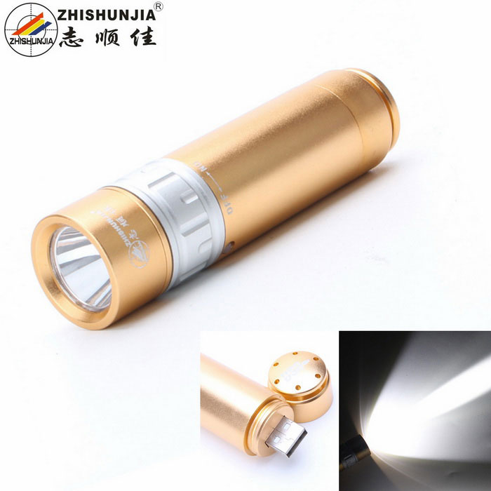 ZHISHUNJIA U1-USB USB Q5 XP-E 240lm White LED Flash Light - Golden