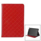 Grid Pattern Protective PU Leather Case w/ Stand for IPAD MINI 4 - Red