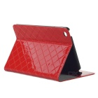 Grid Pattern Protective PU Case Cover w/ Stand for IPAD MINI 4 - Red