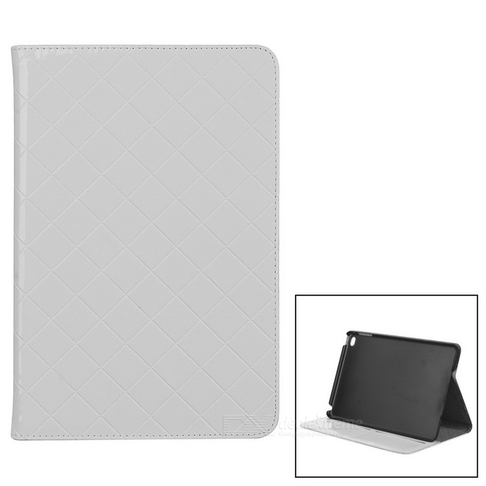 Grid Pattern Protective PU Case Cover w/ Stand for IPAD MINI 4 - White
