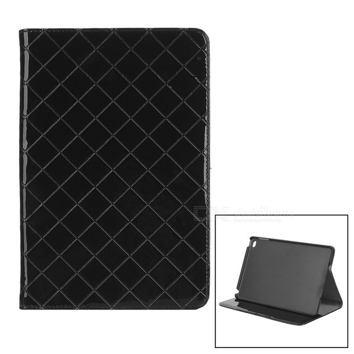 Grid Pattern Protective PU Case Cover w/ Stand for IPAD MINI 4 - Black