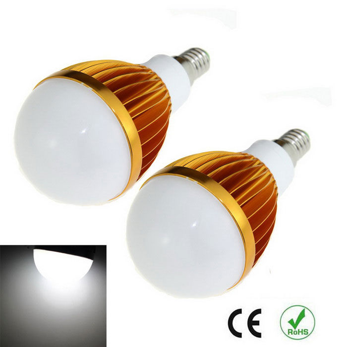 E14 9W LED Light Bulb Cold White 1000lm 6500K 10-5630 SMD (2PCS)E14<br>Form  ColorGolden + SilverColor BINCold WhiteMaterialAluminum alloyQuantity1 DX.PCM.Model.AttributeModel.UnitPower9WRated VoltageAC 85-265 DX.PCM.Model.AttributeModel.UnitConnector TypeE14Chip BrandOthers,N/AChip Type5630Emitter TypeLEDTotal Emitters10Theoretical Lumens1200 DX.PCM.Model.AttributeModel.UnitActual Lumens1000 DX.PCM.Model.AttributeModel.UnitColor Temperature6500KDimmableNoBeam Angle180 DX.PCM.Model.AttributeModel.UnitCertificationCEPacking List2 x LED lights<br>