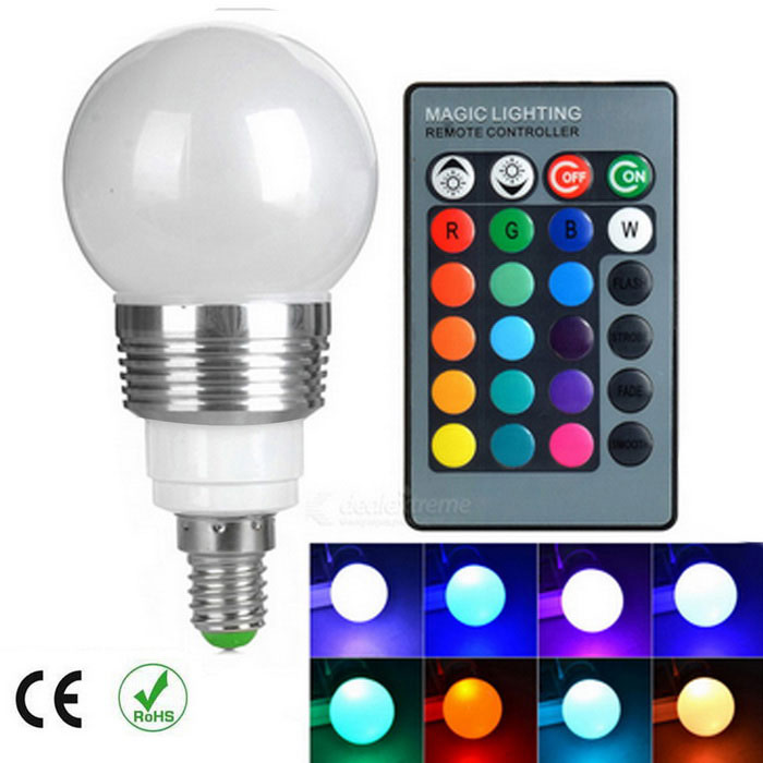 E14 Dimmable 130lm RGB LED Energy Saving Ball Steep Light w/ Remote
